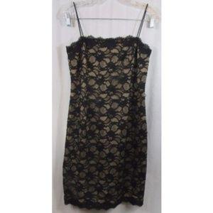 JNY Black Beige Lace Overlay Slip Dress 4